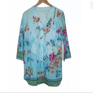 Soft Surroundings Tropical Floral Tunic Top Cotton Womens Size Large